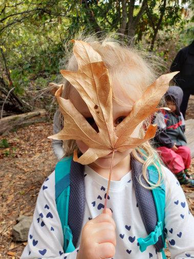 girl holding a leaf